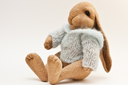 Lovely rabbit toy knitted sweater photo