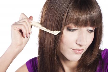 Healthy long straight female hair photo