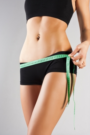 Woman measuring perfect body, healthy lifestyles concept photo