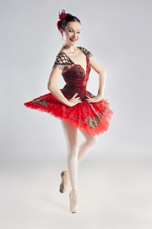 Modern style dancer, posing on studio photo