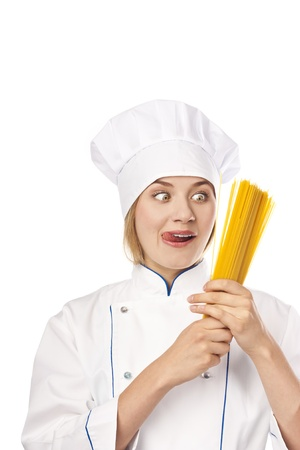 Young chef in the studio  White background Stock Photo - 14690578
