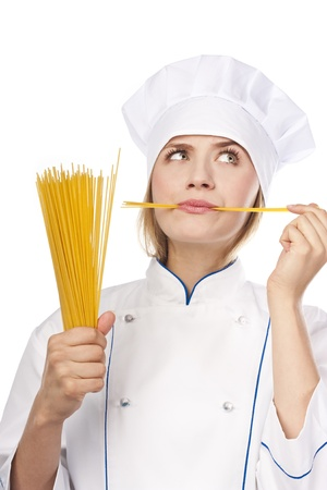 Attractive cook with Italian pasta Stock Photo - 14690580