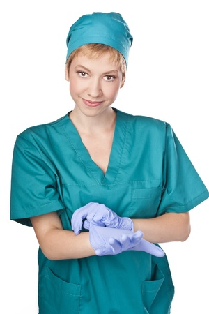 Young nurse in gloves  Medical Staff  Stodio shoot Stock Photo - 15071857