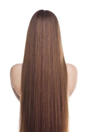 Beautiful long hair  Studio on white Standard-Bild