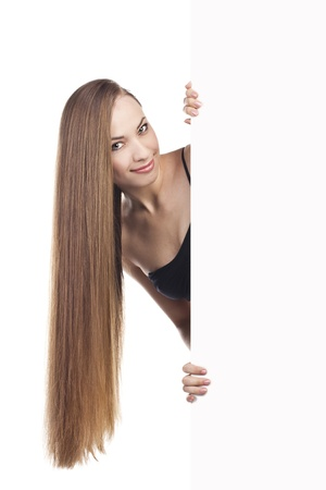 girl with long hair holding a poster Stock Photo - 15489017