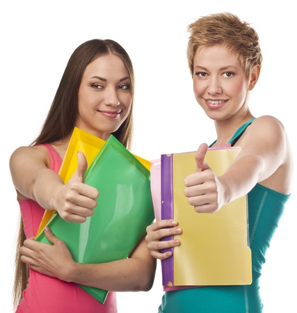 Happy student with folders and papers in hands  Studio white Stock Photo - 18911809