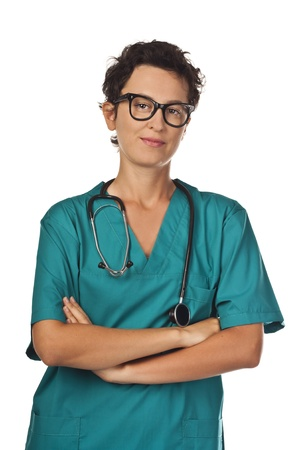 Serious doctor in green uniform  Studio white background photo