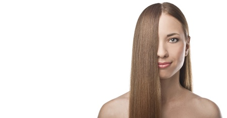 Beautiful Woman with Straight Long Hair photo