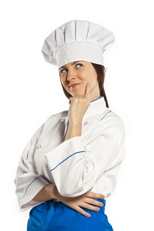 Cook woman looking up. Studio white background Stock Photo - 19159041