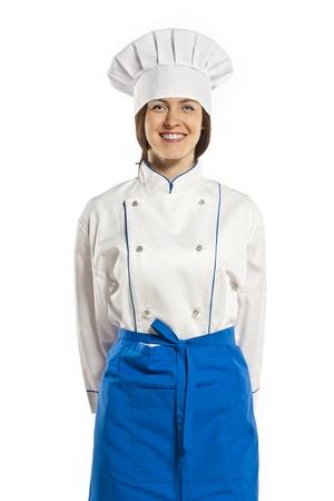 female chef: Female chef in the studio on a white background Stock Photo
