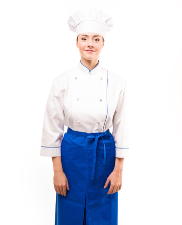 Chef woman. Isolated over white background Standard-Bild