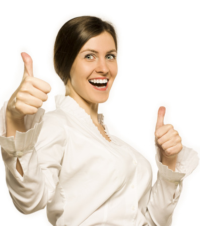 Friendly cheerful smiling business woman showing ok gesture