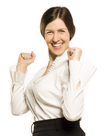 Happy smiling cheerful young business woman with okay gesture