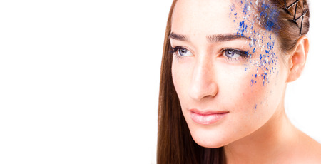 Elegant woman with make-up. Gorgeous Woman Face Standard-Bild