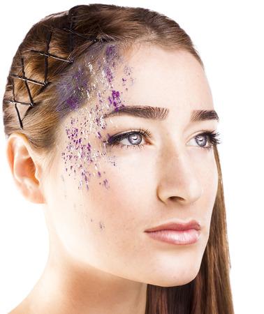 Close-up shot of beautiful woman face with stylish make-up