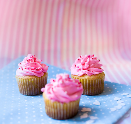 cute cupcakes with pink cream