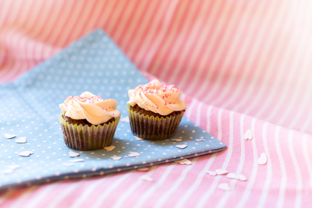 Cupcakes on pink Stock Photo