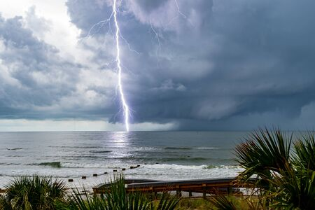 Lightening bolt as it hits the waters in the Gulf of Mexico