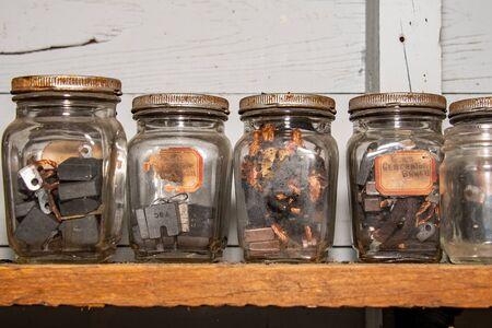 Vintage glass jars lined up
