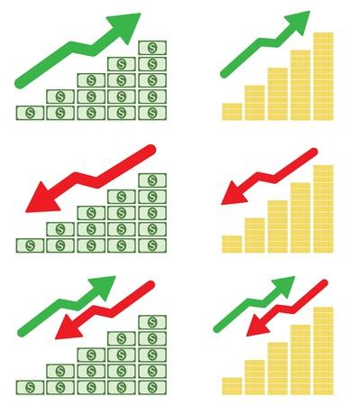 Money graph on white background Illustration