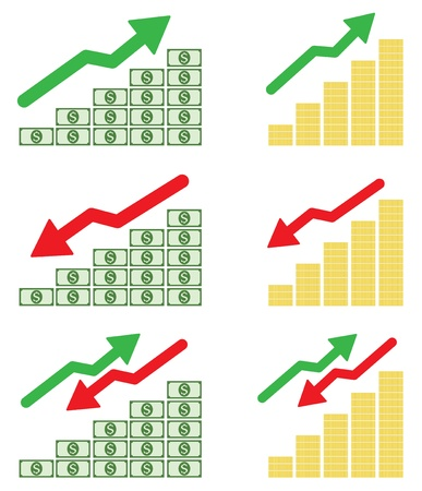 coin stack: Money graph on white background Illustration