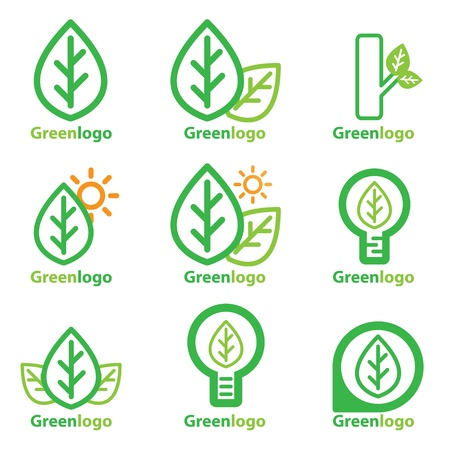 Set Of Green Logo Design Concepts Vector