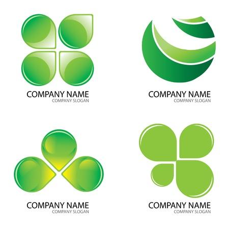 Set Of Green Logo Design Concepts