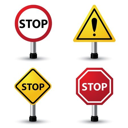danger warning sign: Vector illustration of stop sign