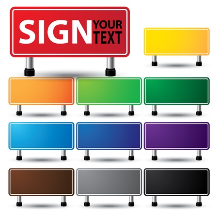 blank road sign:  illustration of empty sign colorful