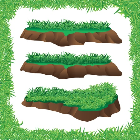 high angle view: illustration of green grass and grass frame Illustration