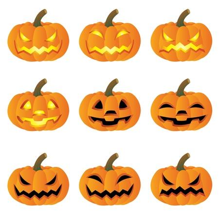 Set of Pumpkin halloween on white background