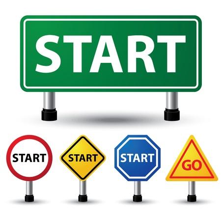 vector illustration of start sign on white background Stock Vector - 21912326