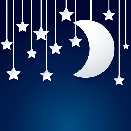moon and star paper vector on dark blue background Illustration