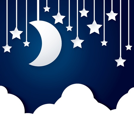 moon star and cloud paper vector on dark blue background 일러스트