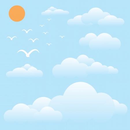 sky clouds: vector illustration of bird at sky, sun and cloud