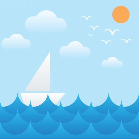 sea bird: vector illustration of boat at sea waves,sun,sky and cloud Illustration