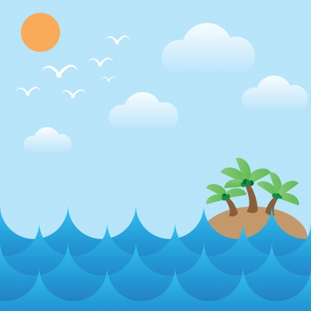 vector illustration of island in sea waves,sun,sky and cloud Vector