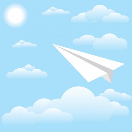 vector illustration of bird at sky, sun and cloud