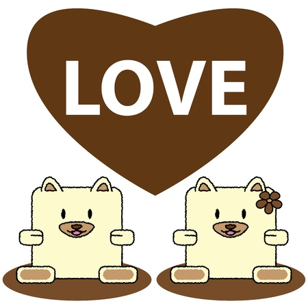 doggie: couple dog cute cartoon in love of vector illustration
