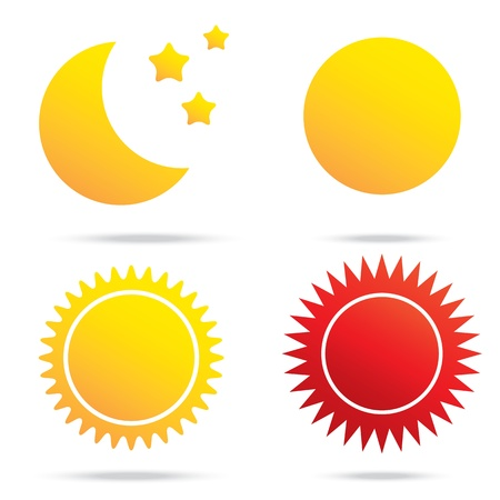 vector illustration of moon sun and star symbol