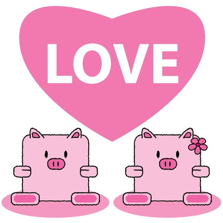 couple pig cute cartoon in love of vector illustration Vector