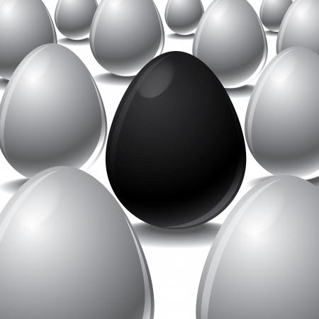differ: Vector illustration of black egg Among white eggs concept