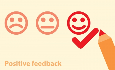 vector illustration of positive feedback concept. minimal design Vector