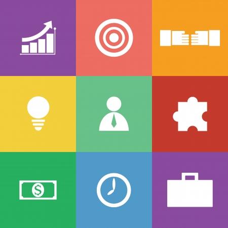 vector illustration of business icon set, flat design