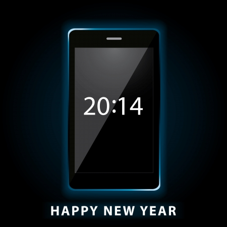 Illustration of happy new year 2014 on phone Stock Vector - 21956506
