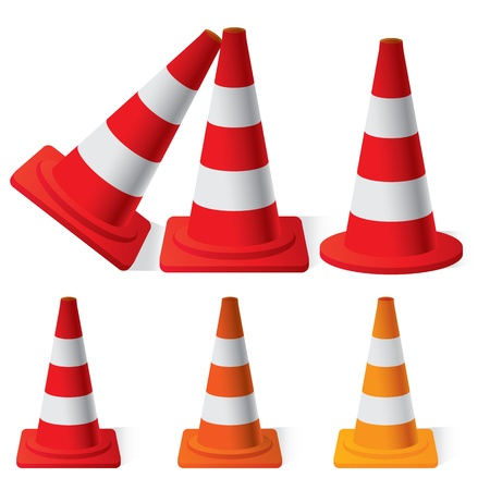 Illustration of Safety Traffic Cones set Illustration