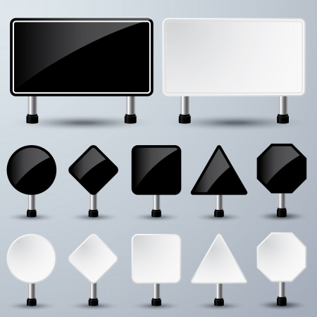 Illustration of black and white empty sign paper for your message or image Stock Vector - 21956406