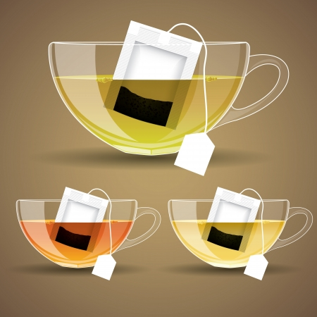 set of Glass cup with tea  vector illustration