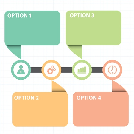 Vector illustration of text box  with line business strategy diagram 일러스트