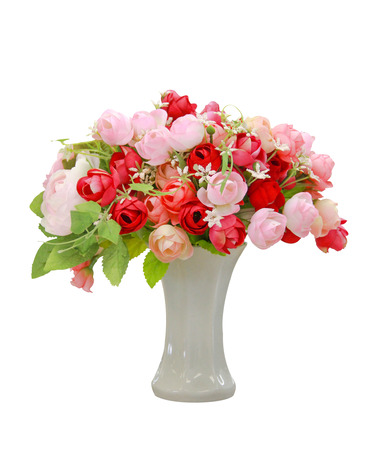 Bouquet of roses and in ceramic vase isolated on white photo
